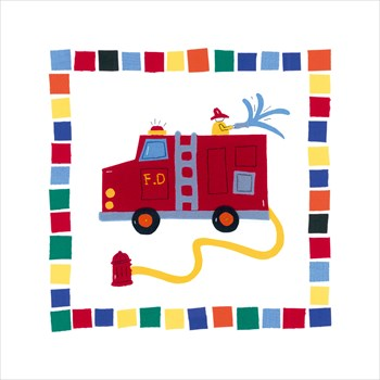 Fire Engine Print by Sophie Harding
