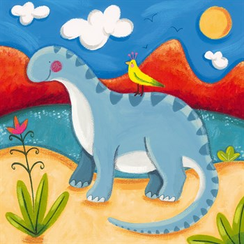 Baby Dippy The Diplodocus Print by Sophie Harding