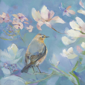 Birds in Magnolia - Detail I Print by Sarah Simpson
