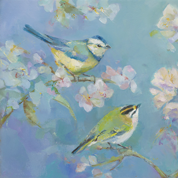 Birds in Blossom - Detail I Print by Sarah Simpson