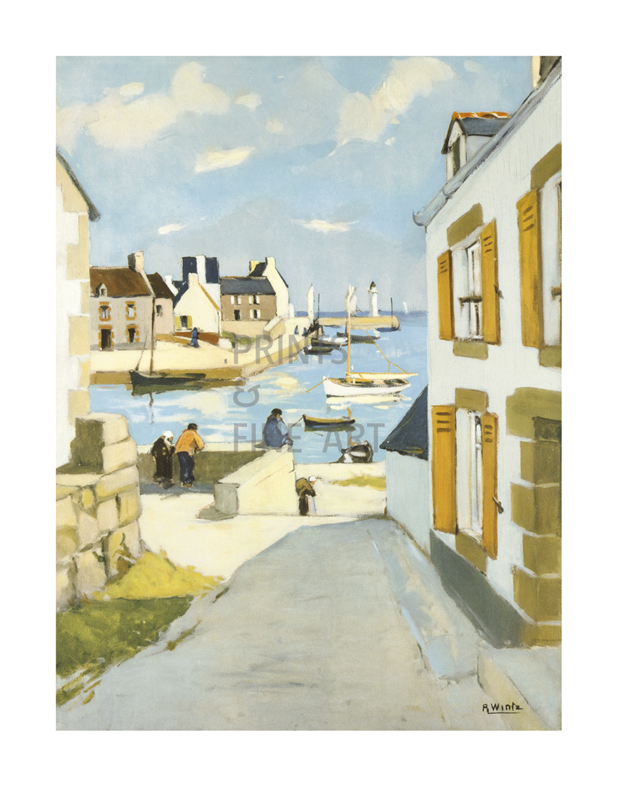 R Wintz Print Coast Scene in Brittany