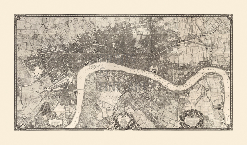 Map of London, 1746 Fine Art Print by John Rocque