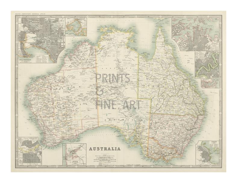 Map Of Australia 1880.Australia Map 1880 Fine Art Print By Keith Johnston