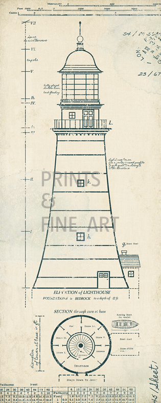 Lighthouse plans ii by the vintage collection prints and for Lighthouse blueprints plans