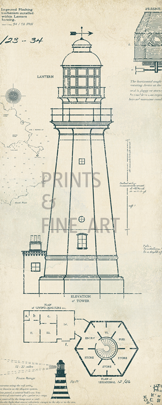 Lighthouse plans iv by the vintage collection prints and for Lighthouse blueprints plans