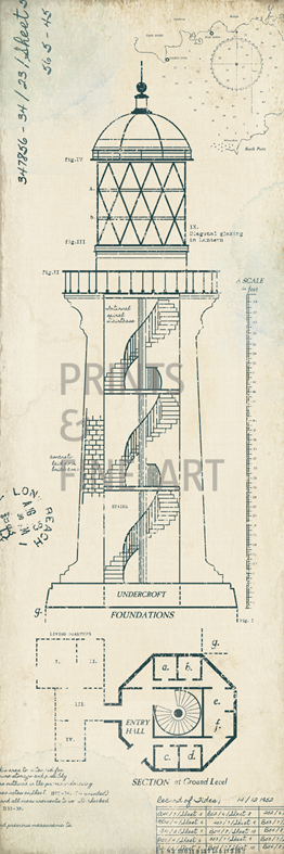 Lighthouse plans i by the vintage collection prints and for Lighthouse blueprints plans